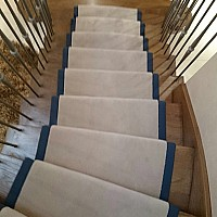 Westex Velvet Magnolia stair runner. Blue cotton tape border.