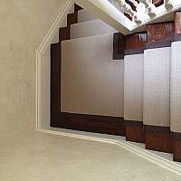 Telenzo Stair Runner. Brown linen tape border.