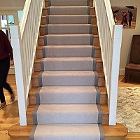 Telenzo Harrow Stair Runner. Grey Cotton tape border.