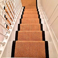 Sisal Malay Dragon Glass stair runner with cotton tape border